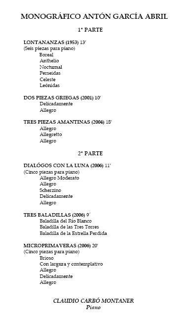 Monográfico obra para piano de Antón García Abril