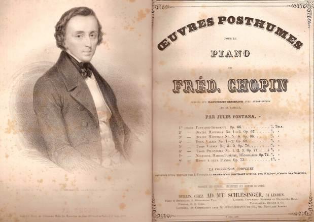 Edición póstuma de algunas obras de Chopin por J. Fontana